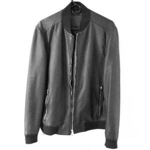 AllSaints - black leather bomber jacket, size XL
